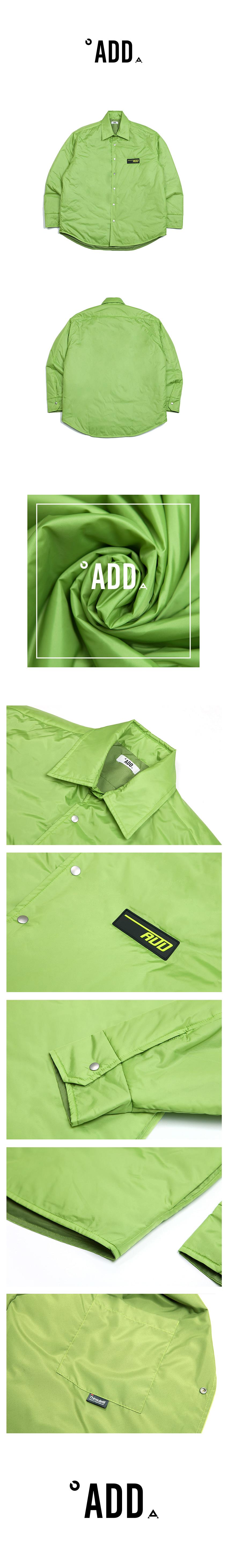 에드(ADD) (경량패딩) NYLON THINSULATE PUFFER SHIRT GREEN